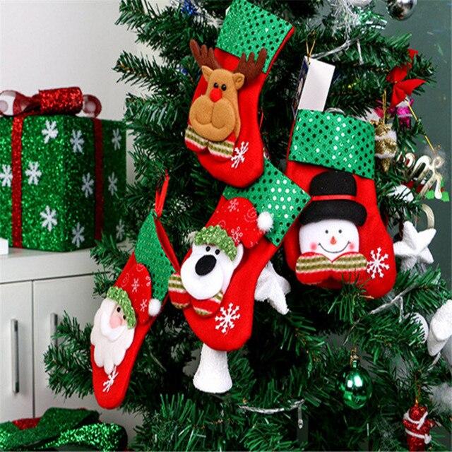 4 шт., рождественские носки, подвеска, Рождественский Подарочный пакет, Новогоднее украшение, новогодняя елка, Navidad-B
