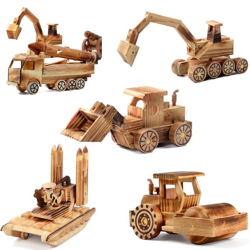 Wooden Desktop Car Model Decoration DIY Wooden Mini Vintage Model Table Desk Living Room Accessories Children Model Toys