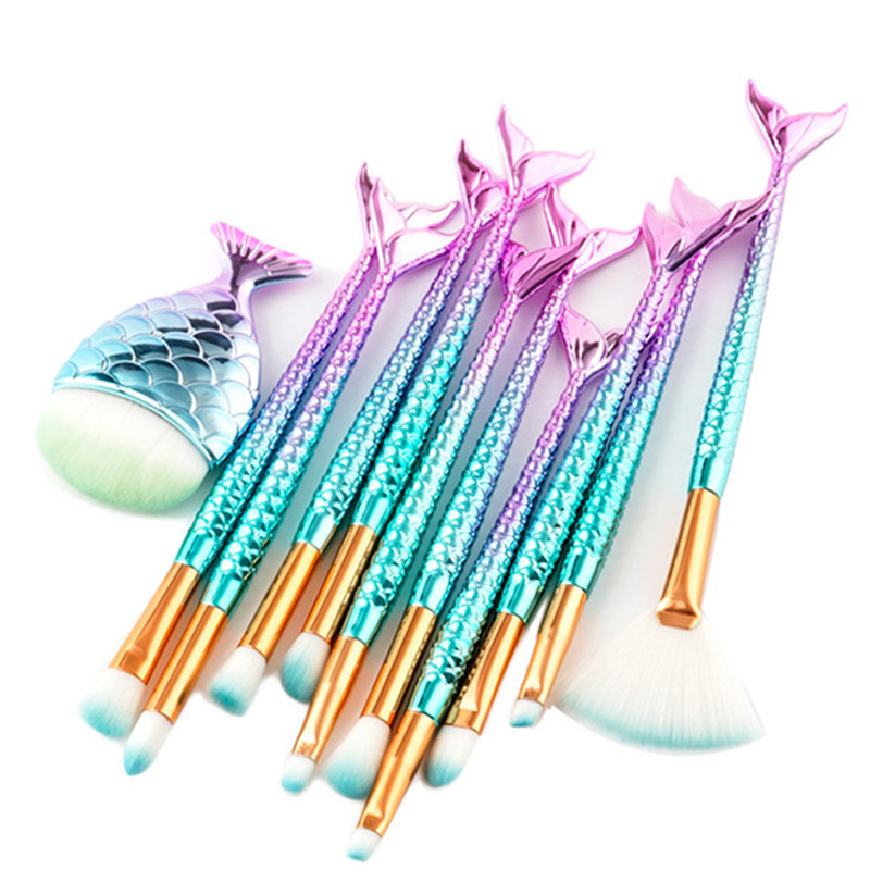 11Pcs Beauty Makeup Eyeshadow Foundation Brush Set Mermaid Makeup Brushes Fish Tail Eyelash Contour Powder Brush Kit De Pinceis 1000g 98% fish collagen powder high purity for functional food