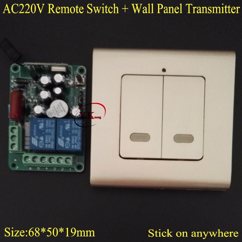AC 220V 2 CH Way Relay Remote Switch Contact NO COM NC RF Wireless Switch Home LED Lamp Light Remote Lighting Wall Panel Key RX
