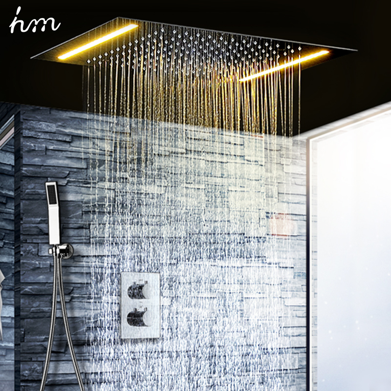 hm 2 Ways Luxury Ceiling Mounted Shower Set Thermostatic Mixer Bathroom Led Rainfall LED Shower Head 360*500mm Color Shower-in Shower Heads from Home Improvement    2
