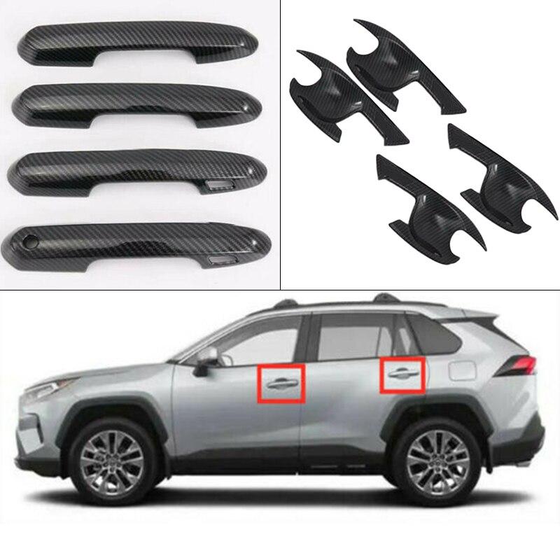 8PCS Carbon Fiber Style Door Handle Bowl Cover Trim For RAV4 2019 2020