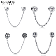 ELESHE Authentic 925 Sterling Silver Daisy Bow Heart Safety Chain Charm Beads Fit Origina Pandora Charm Bracelet Jewelry Making