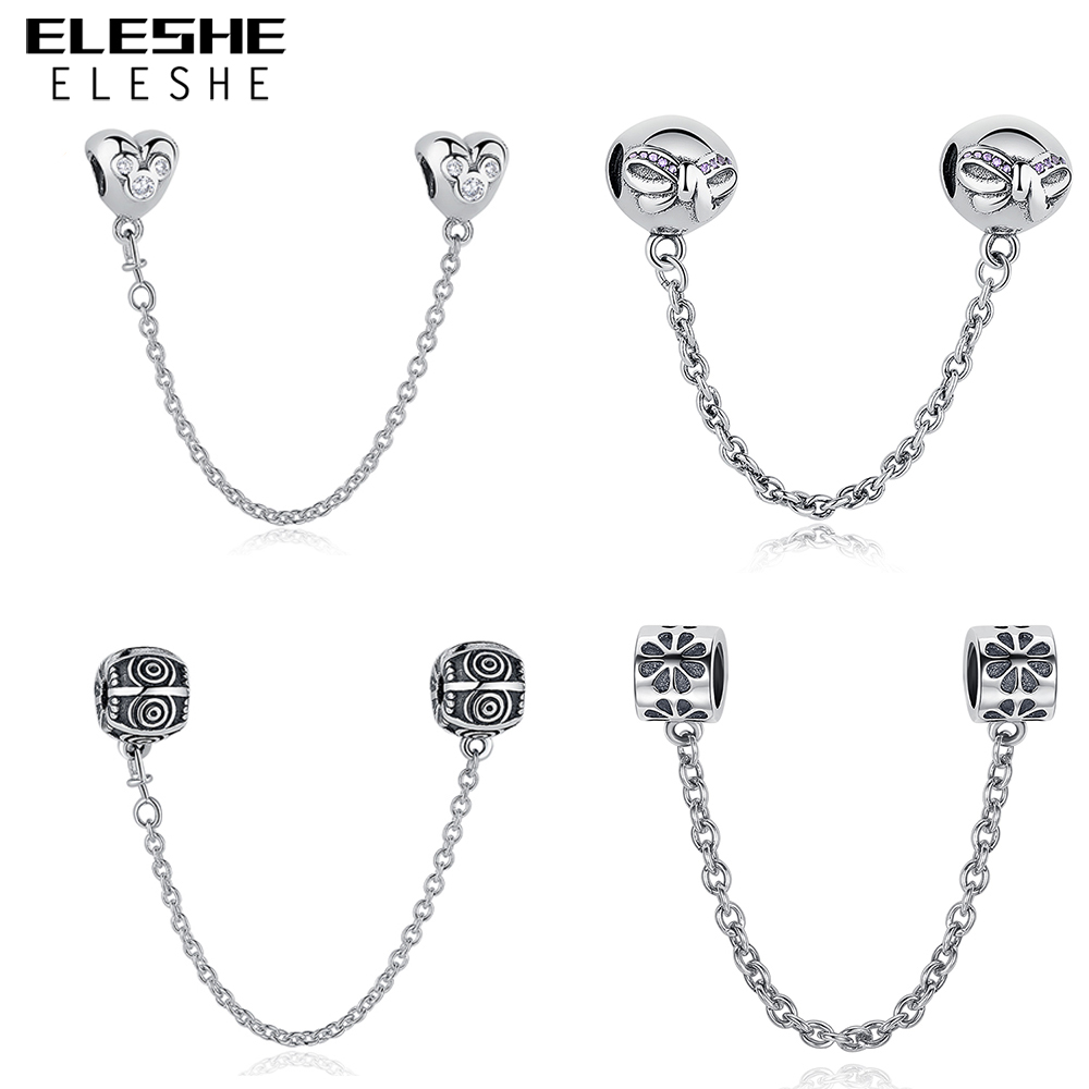 ELESHE Authentic 925 Sterling Silver Daisy Bow Heart Safety Chain Charm Beads Fit Original Pandora Charm