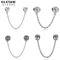 Authentic 100 925 Sterling Silver Daisy Bow Heart Safety Chain Charm Beads Fit Original Pandora Charm