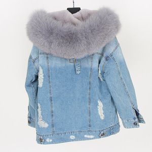 Image 3 - Maomaokong natural rabbit fur lined denim jacket fox fur coat coat fashion denim fox fur warm lady winter jacket women parka