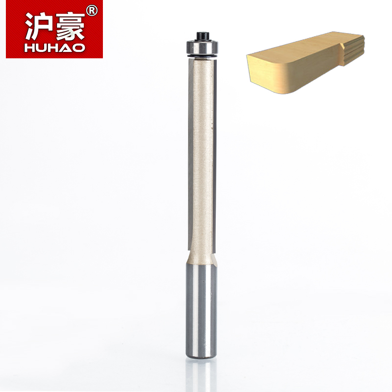 HUHAO 1pc 1/2*1/2*3 CNC Flush Trim Router Bits for Wood Lengthened Trimming Cutters with Bearing Woodworking Tool Endmill point cut round over groove 1 4 1 4 woodworking tool needle nose cutters wood cnc router bits endmill manufacturer tideway 2886