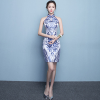 Blue Xiaqinghua Porcelain Ceremony Cheongsam Skirt Chinese Dress Modern Qipao Vintage Sexy Oriental Robe Chinoise Qi