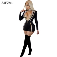 ZJFZML Deep V Neck Ribbon Sexy Bodycon Playsuit Women Black Long Sleeve Striped Skinny Romper Spring