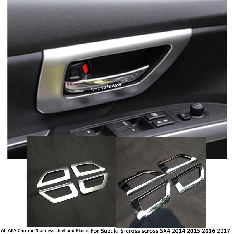 For Suzuki 2017 SX4 S-cross Carbon Fiber Style Door Handle Cover Bowl Trim 4 Pcs