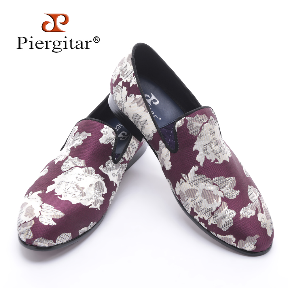 все цены на new arrival Purple jacquard fabric with White flowers handmade men loafers party and prom men dress shoes plus size men's flats