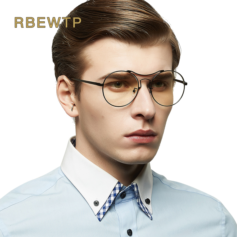 RBEWTP Brand Blue Light Blocking Glasses led Reading Radiation-resistant Round oversized Glasses Computer Gaming Glasses Frame