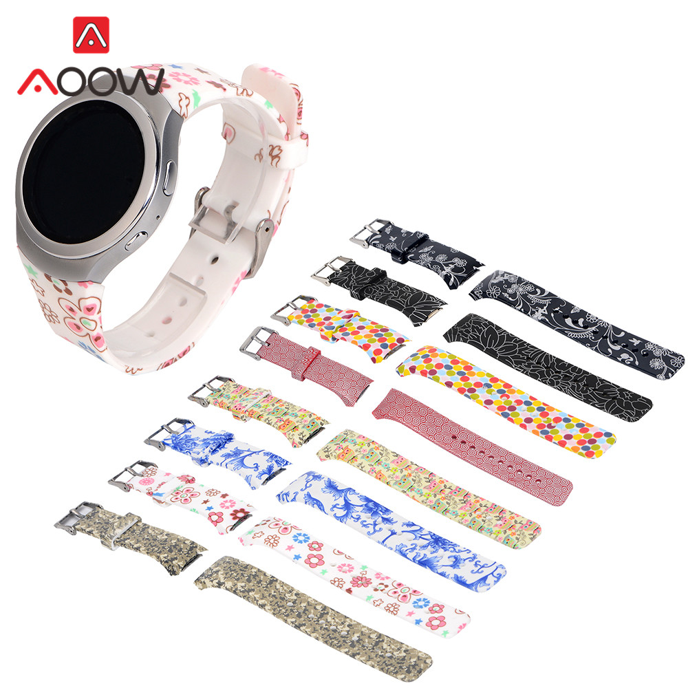 Flower Printing Silicone Watchband For Samsung Gear S2 R720 Men Women Replacement Bracelet Band Strap For Smart Watch SM-R720