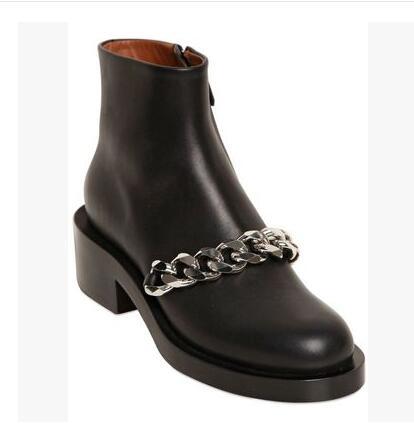 Botas Mujer haute qualité chaîne en métal doré bottine talon épais noir marron blanc cuir gladiateur sandales bottes livraison gratuite - 5