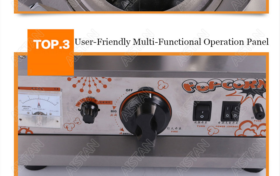 VBG701/VBG702 commercial stainless steel single head/double head gas popcorn machine for kitchen equipment 9
