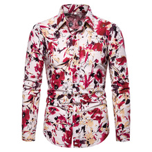 2019 autumn floral pritn long sleeve casual shirts men fashion mens luxury dress slim fit plus size 5xl
