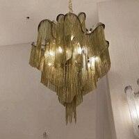 Поток кисточкой проект свет алюминиевая цепь винтажный алюминиевый ручной работы металлическая бронзовая люстра лампа для гостиной