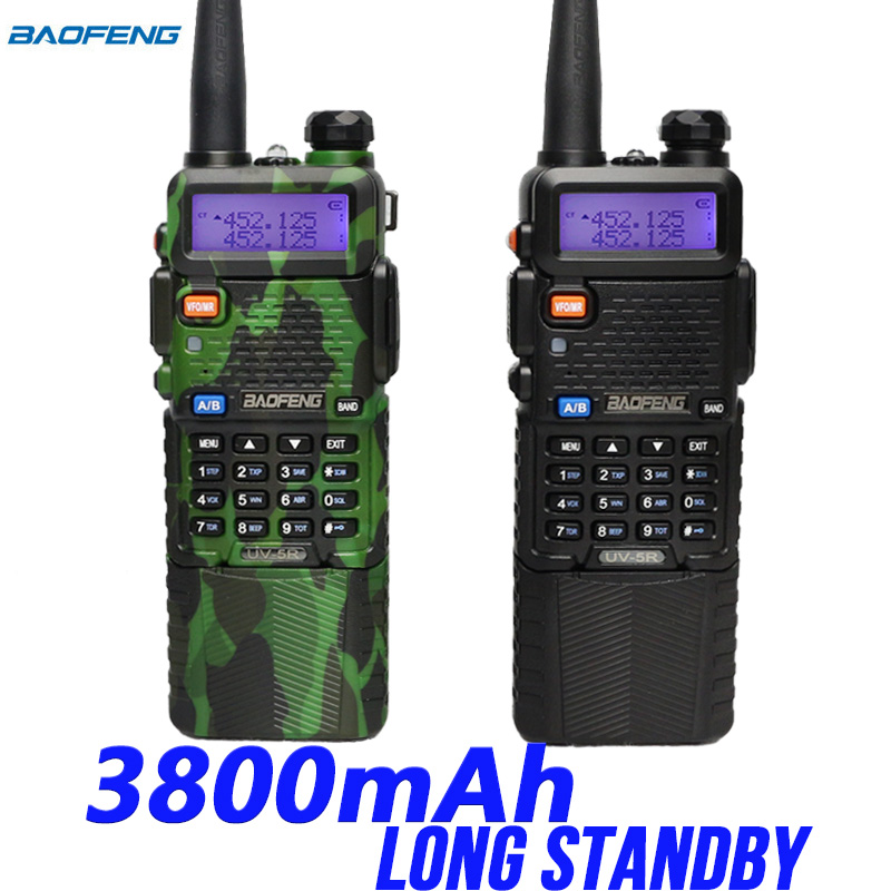 Baofeng uv5r walkie talkie 3800 mah batteria a lunga durata two way radio dual band ricetrasmettitore