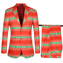 Christmas designer Men Blazer with pant 2 pcs Luxury printing 2018 New year Male Jacket Brand floral Males Suits Blazers