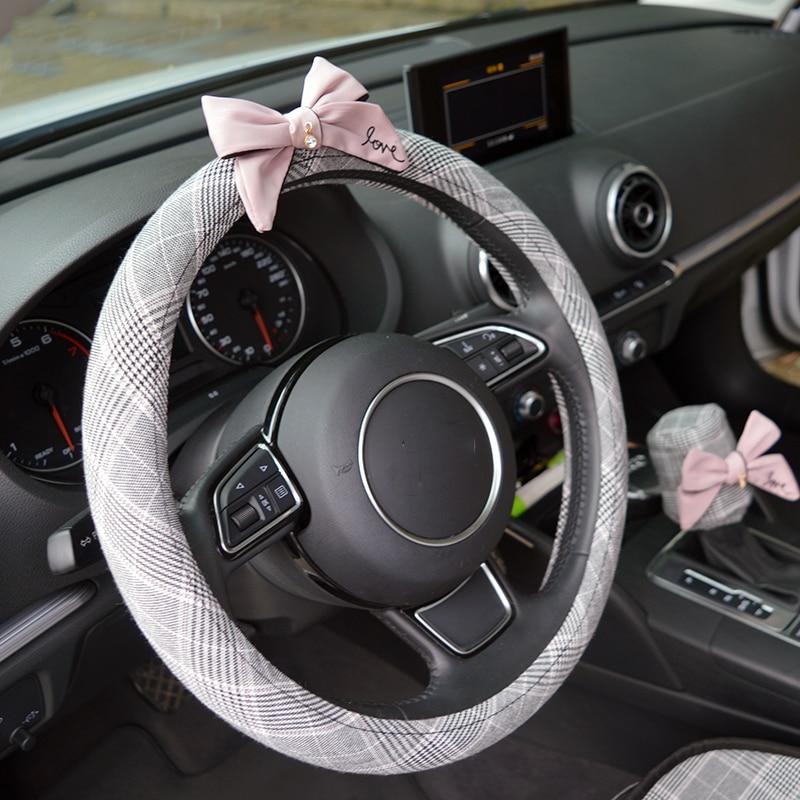 Bowknot Car Pillow Decoration Sets Auto Seat Neck Waist Supports Cushion Steering Wheel Covers Tissue Box Gear Shifter Handbrake
