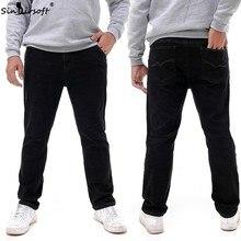 Large Size Stretch Full Length Pants Men Straight Soild Denim Jeans Trousers Male Skinny Soft Sweatpants Plus Size 36-52 Summer цена в Москве и Питере