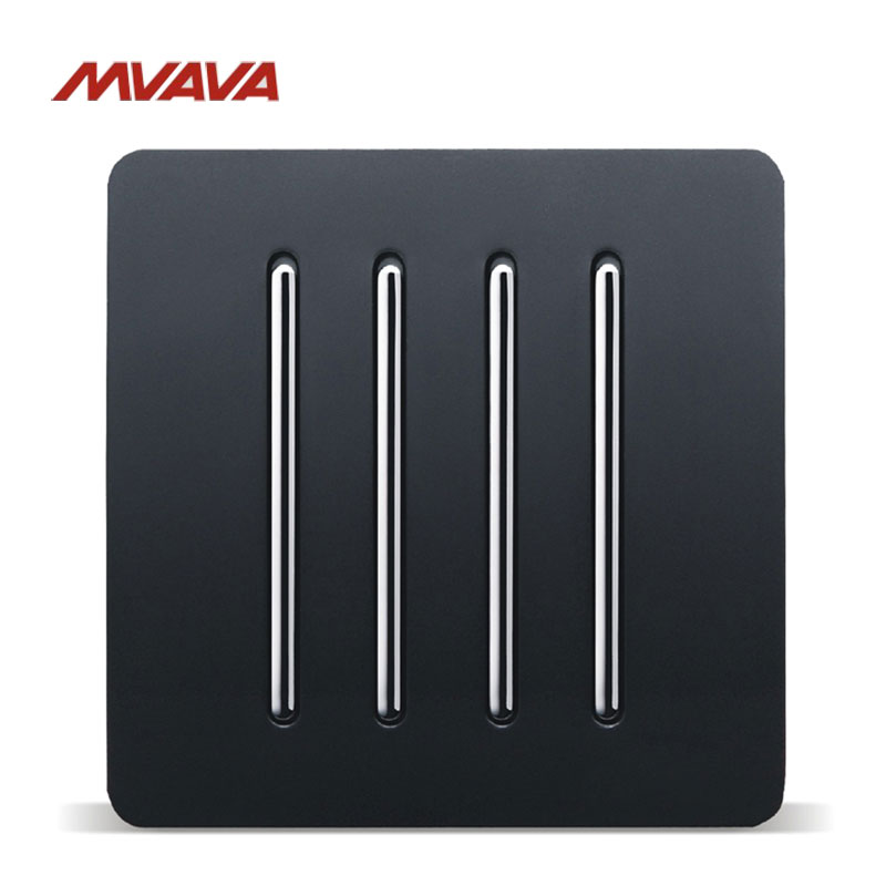 Free Shipping,MVAVA 16A 4 Gang 1 Way Light Wall Switch AC100V-250V Light Control Wall Decorative Push Button Luxury PC Black ac 250v 20a normal close 60c temperature control switch bimetal thermostat