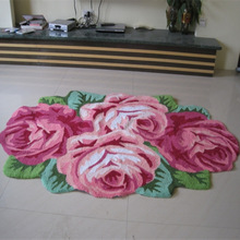 Free shipping high quality hand woven 4 roses art rug/carpet, 3D art mat for bedroom, bedside. 110*70*1.5cm