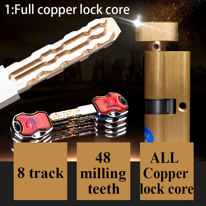 Door cylinder 60 65 70 75 80 85 90mm Security Copper Lock Cylinder Interior Bedroom Living Handle Brass Locking Security door door cylinder 110cm security copper door lock cylinder interior bedroom living lock handle 5 pcs brass key locking page 9