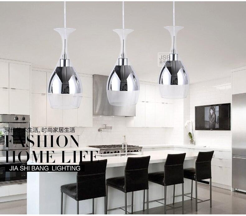 3lights New Modern LED Wineglass Crystal Glass Lamp Shade Dining Room Silver Pendant Light