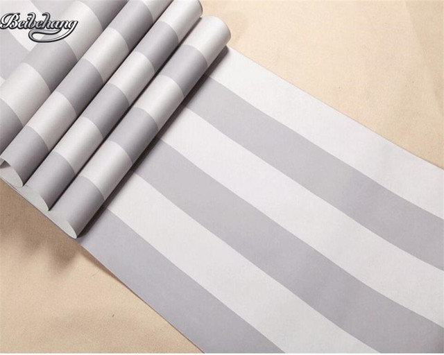 Beibehang Coloured 3d Wallpaper Vertical Stripes Bedroom Light Grey 10 M Sitting Room For