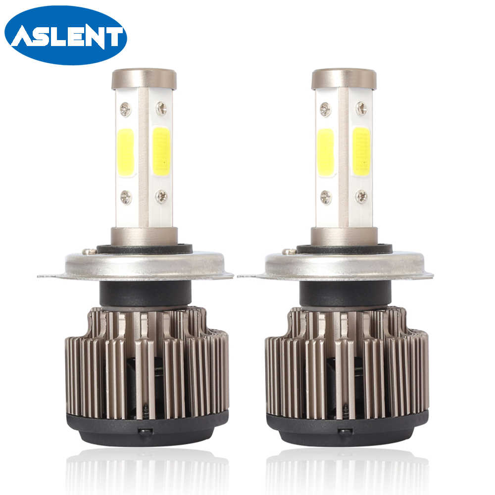 Aslent 2PCS Auto led H4 H7 H11 9005 9006 H8 H13 9004 9007 9012 4sides Car Headlight Bulbs 6500K Automobiles Fog Lights 10000lm