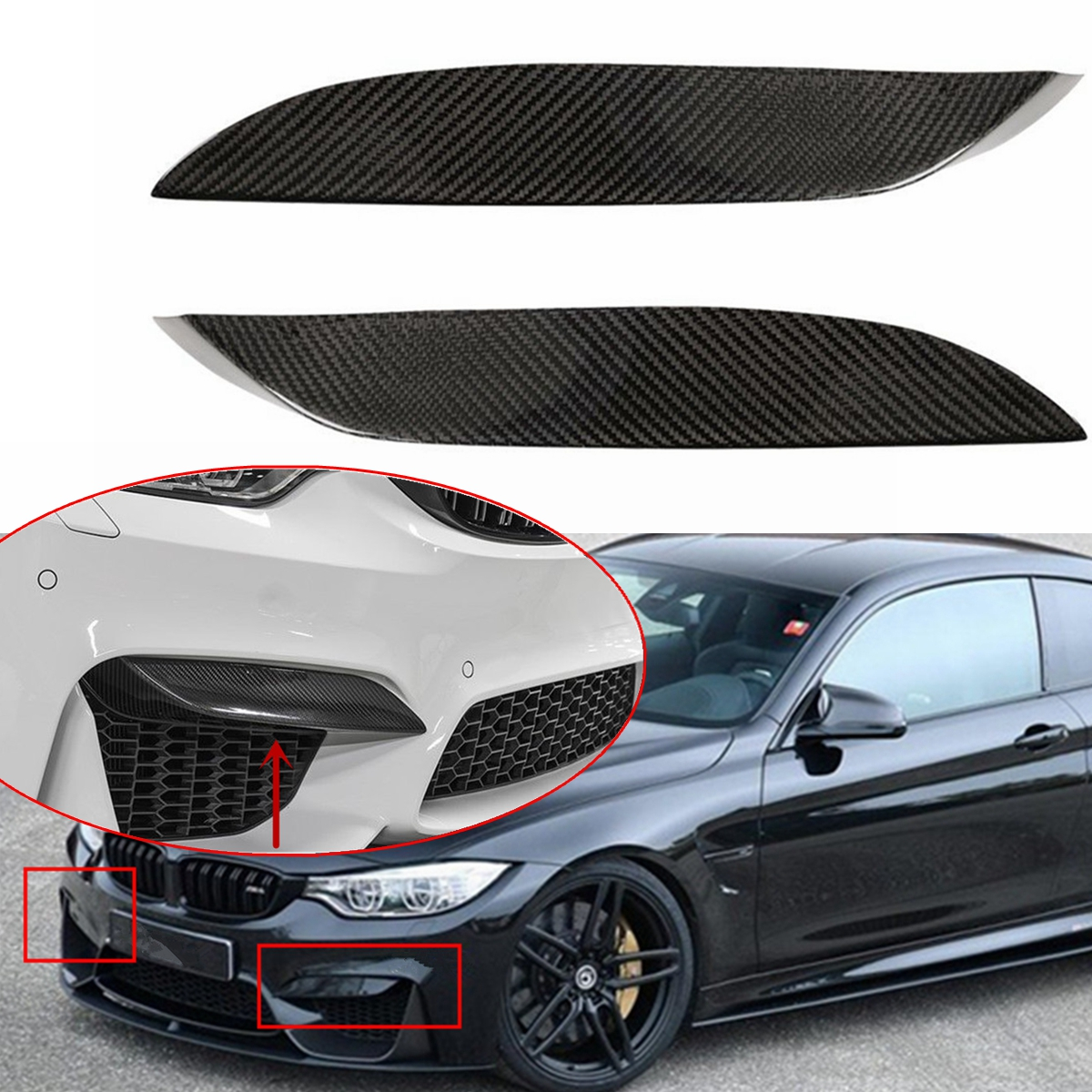 Universal Car Real Carbon Fiber Front Bumper Fins Decoration Canards Splitters Trims For BMW F80 M3 CF Bumper Lip Protector universal car styling carbon fiber auto front bumper trim decoration fit any car