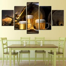Fashion Hot Sale Canvas Art Cup Beer Paintings Prints on 5 Pieces Wall Picture for Home Bedroom Modern Decoratives