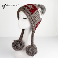 2017 New Winter Hat Hand Knitting Plaid Five Pointed Star Super Soft Beanies Warm Ear Caps