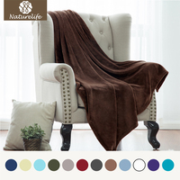 Flannel Fabric Soft Blanket Brown Coral Fleece Warm Throw Blankets travel blankets sofa plane for home travel Bed Warm Cobertor