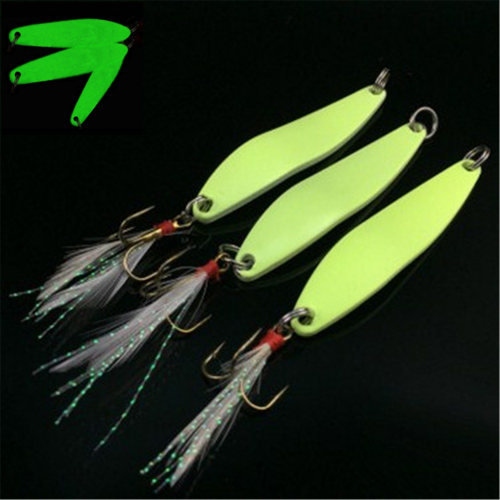 1pcs 5g 7g 10g 13g  Luminous Fishing Spinner Spoon Lure Hard Bait With Feather For Bass Sea Lures Wobbles Fishing Accessories