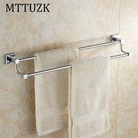 MTTUZK Brass Chrome Wall Mounted Bathroom Double Towel Holders Towel Bars Towel Racks Bathroom Accessories Top