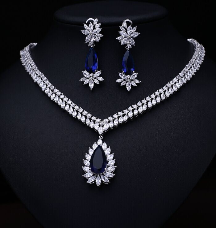 bule color  Fashion AAA Cubic Zircon Jewelry Sets ,Earrings /Necklace,Promotion,Nickel Free, Factory pricebule color  Fashion AAA Cubic Zircon Jewelry Sets ,Earrings /Necklace,Promotion,Nickel Free, Factory price