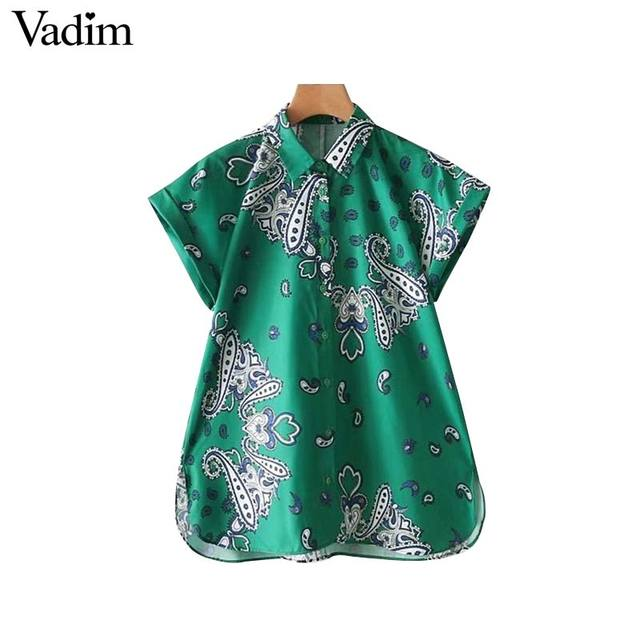 165a5322001a8 Vadim retro paisley loose shirt short sleeve turn down collar blouse ladies casual  summer oversized tops blusas DT1429