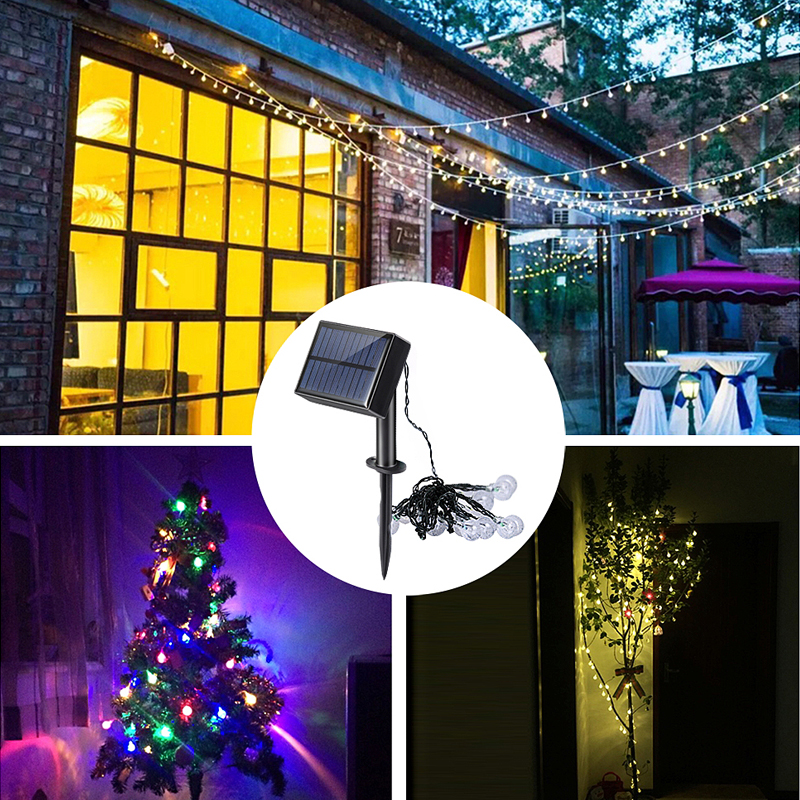 Christmas tree LED Crystal Ball Solar Powered String lights Fairy Lights for Outdoor new years Garden micro port Rechargeable solar powered led outdoor string lights 6m 30leds crystal ball globe fairy strip lights for outside garden party holiday