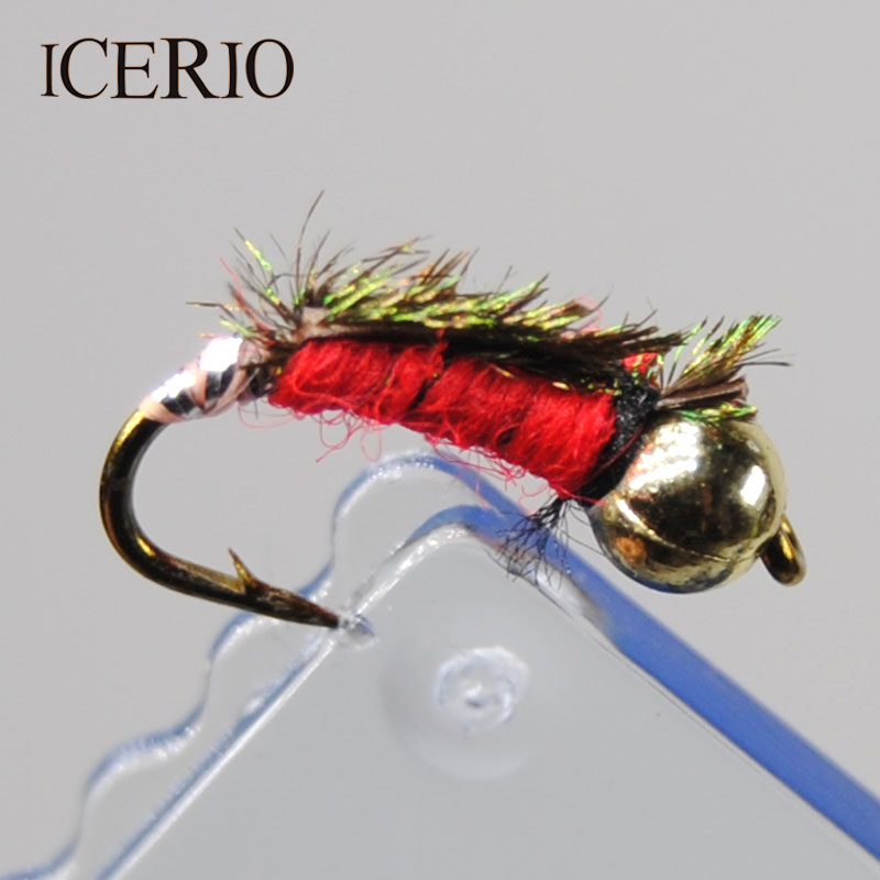 3 X Red Collar Buzzers Nymph Wet Trout Flies Sizes 10,12 Fishing Flies