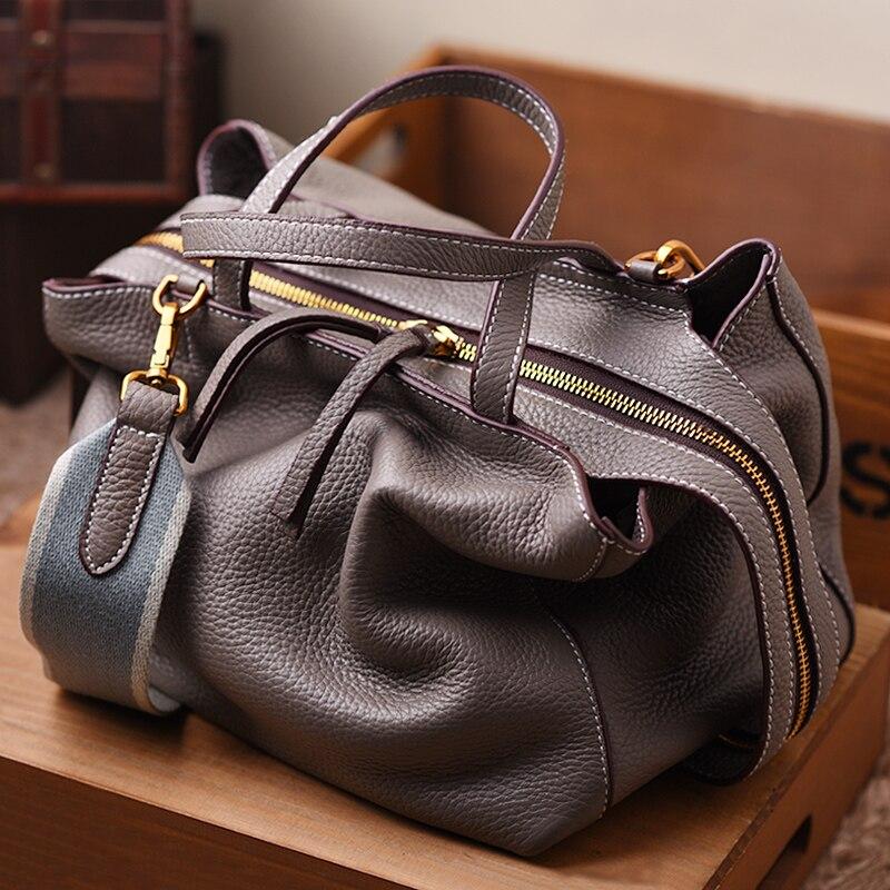 Women Fashion Luxury Top Grain Genuine Togo Calf Leather Medium Tote Handbag Bag WB364
