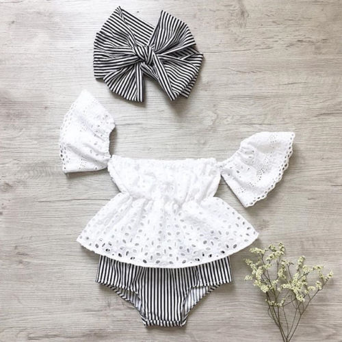 a7a9d6359589 3pcs Toddler Baby Girl clothes set Lace hollow out short sleeve Top +Stripe  Shorts +