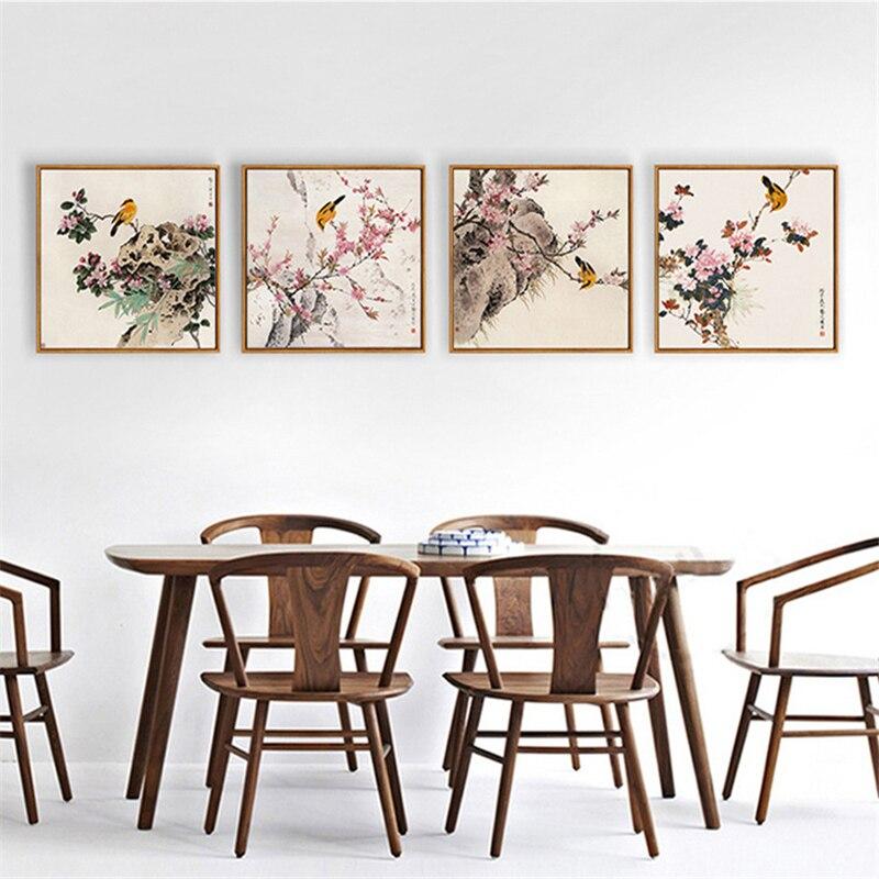 Vogel auf die Blume Leinwand Einfache Basierend Wandbild Bild Chinesischen Stil Nordic Wand Papier Ziemlich Kunst Poster für Büro Schlafzimmer decor