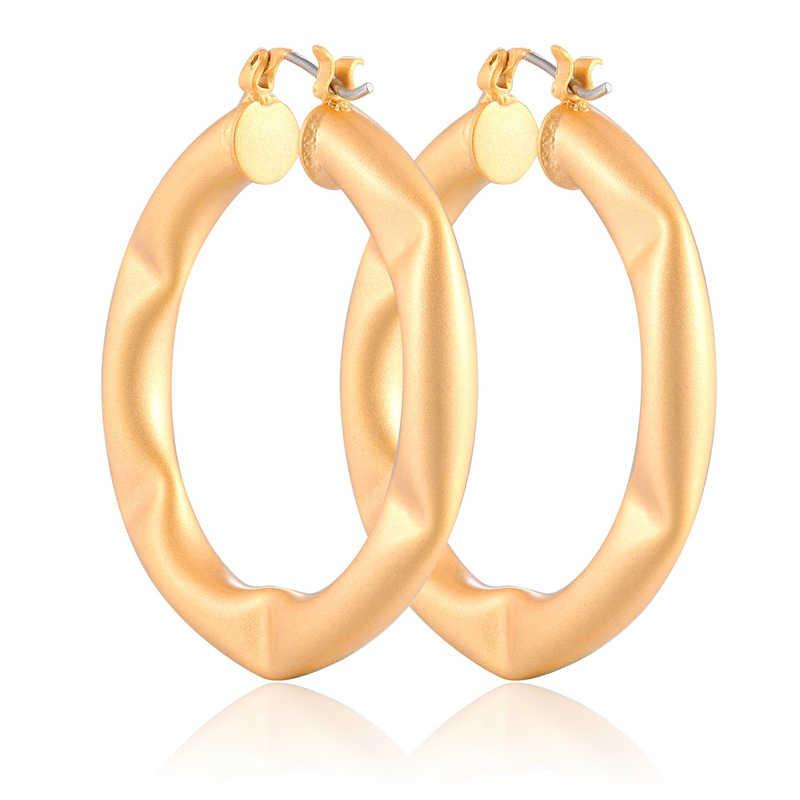 New Đồ trang Sức thời trang Thanh Lịch Hoop Bông Tai Bông Tai Vàng Sơn Màu Vàng Thiết Kế Earing Brincos 40 mét ZK40