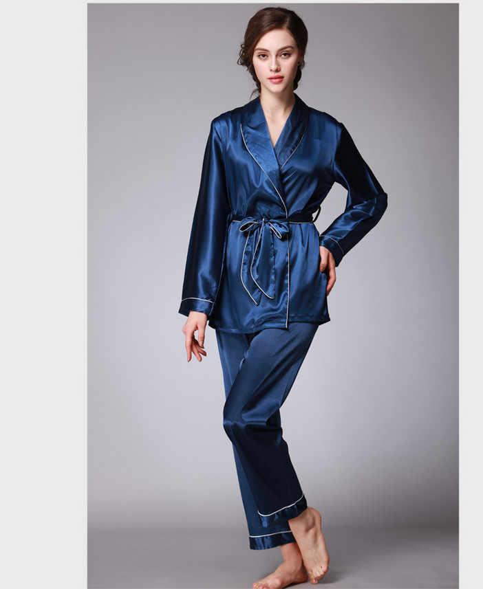 Ночная рубашка с поясом, пижамный комплект из 2 предметов: блузка + брюки, женская шелковая пижама, повседневные Костюмы, женская одежда для сна, женская пижама, синий, черный, розовый