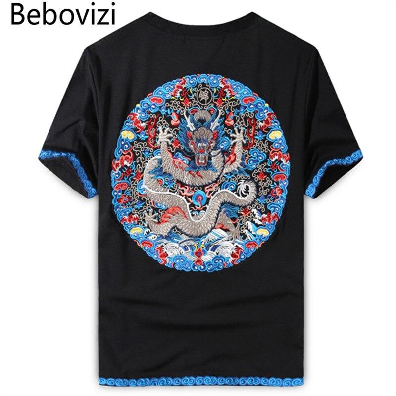 Bebovizi marque 2018 T-shirts décontracté noir T-shirts Style de rue chinois Royal Dragon broderie hauts T-shirts vêtements