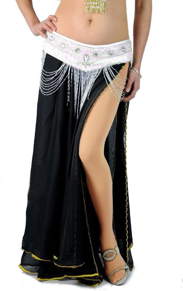 Модные/Горячие Новые Сексуальные костюмы для танца живота юбка bead edge 2 слоя с 2-сторонняя юбка-макси 10 цветов - Цвет: Black