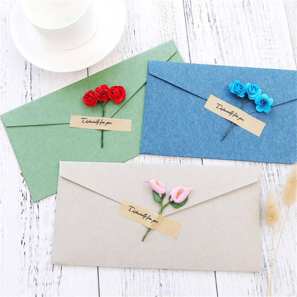 Details About 2pcs Vintage Dry Flower Envelopes With Letter Paper Postcard Office Supplies