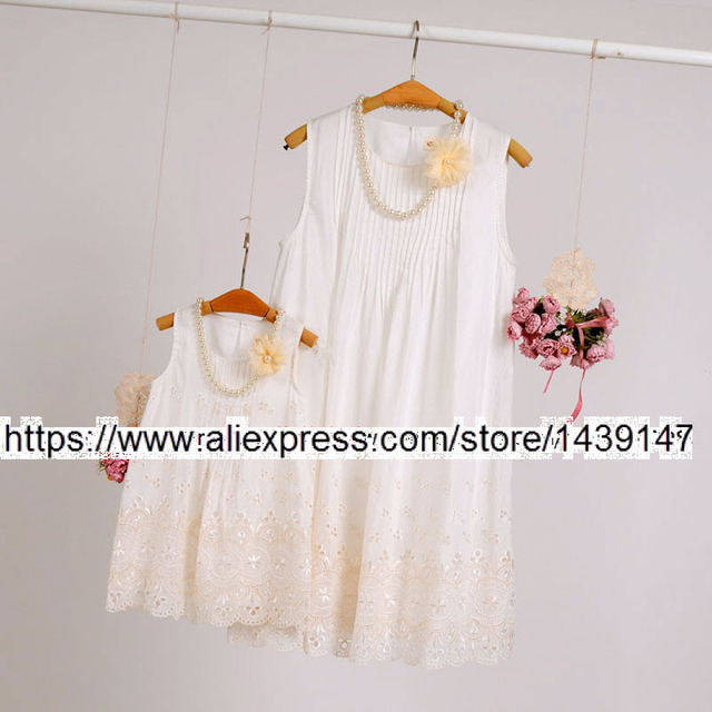 Children clothing Mother and Daughter Dresses embroidery Soft loose , 2-12 years old Child big Girl , Women plus Large size 4XL